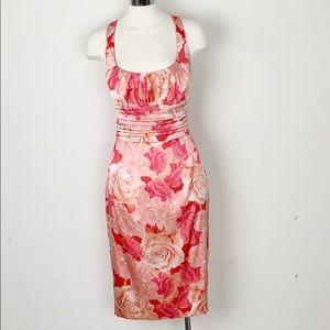 David Meister Silk Floral Sheath Dress Pink Coral